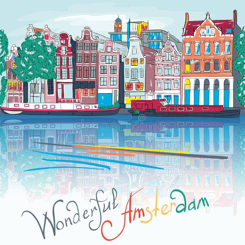 Vector Amsterdam canal and typical houses. City view of Amsterdam canal, typical dutch houses and boats, Holland, Netherlands. City view of Amsterdam canal royalty free illustration