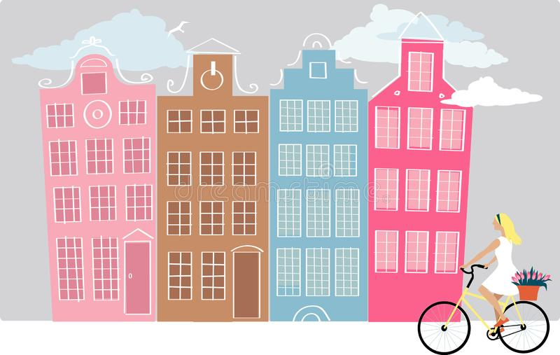 Amsterdam cityscape illustration. Amsterdam street with a young woman riding bicycle, EPS 8 vector illustration stock illustration