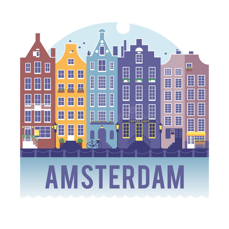 Amsterdam cityscape. Traditional Dutch cityscape. Houses in the old Dutch style stock illustration
