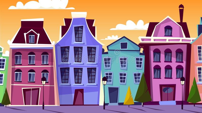 Amsterdam cityscape vector cartoon illustration. Amsterdam cityscape vector illustration. Cartoon Amsterdam streets and traditional old houses for Dutch or stock illustration