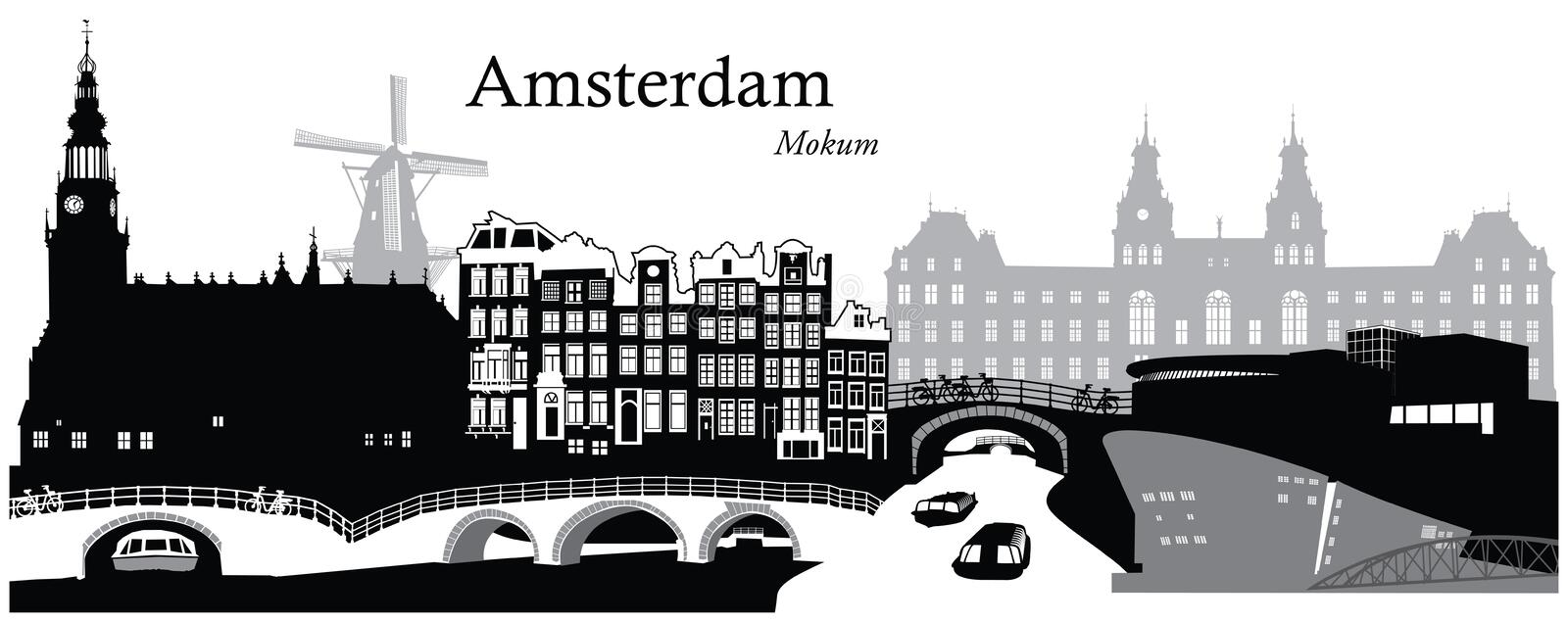 Amsterdam Cityscape. Vector illustration of the cityscape skyline of Amsterdam, Netherlands stock illustration