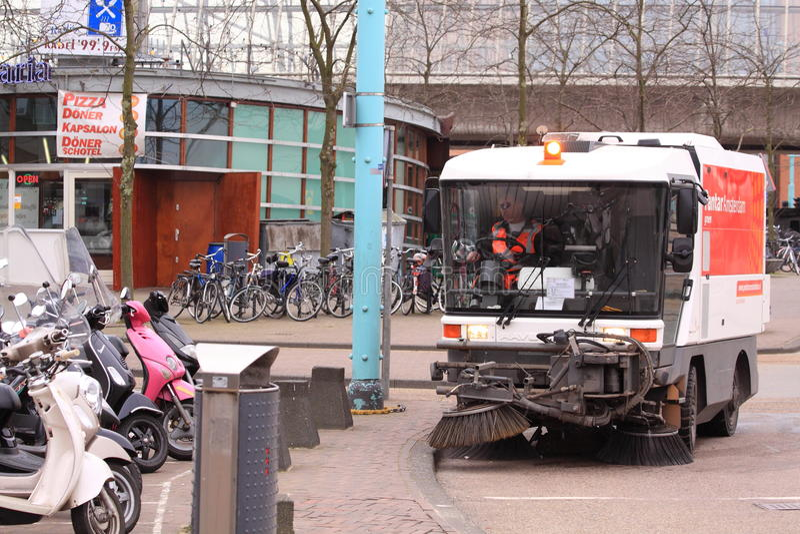 amsterdam cleaning motorised service royaltyfria bilder