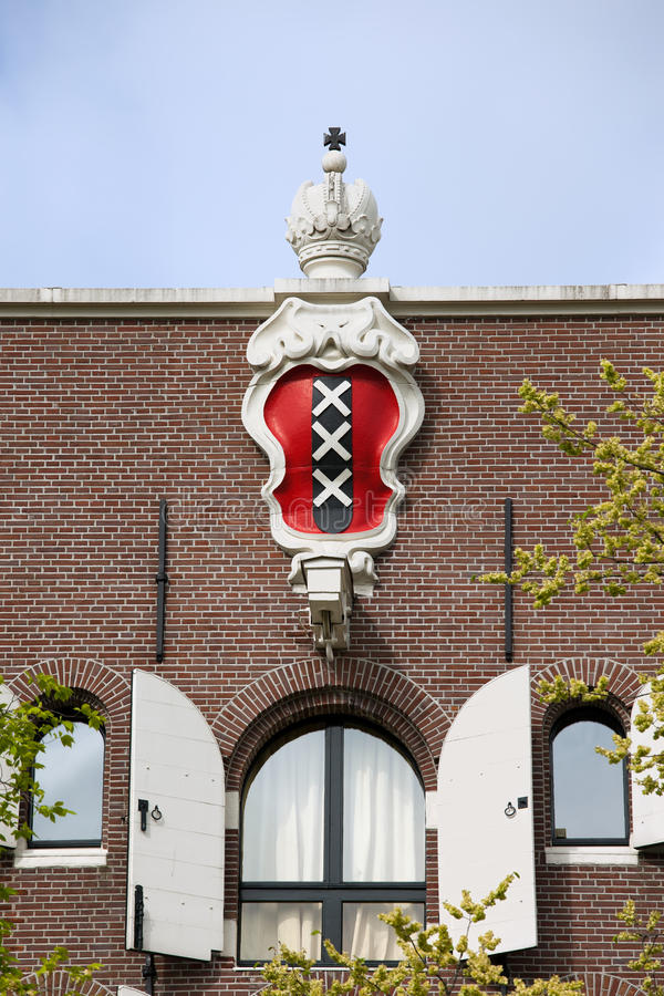 Amsterdam Coat of Arms on House Apex stock photo