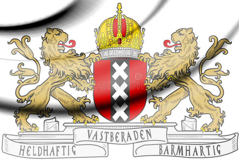 Amsterdam Coat of Arms, Netherlands. 3d Rendered Amsterdam Coat of Arms, Netherlands stock illustration