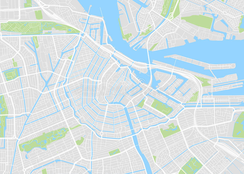 Amsterdam colored vector map. View from above stock illustration