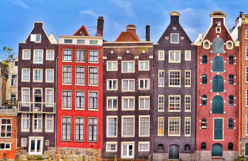 Amsterdam colorful old houses royalty free stock images
