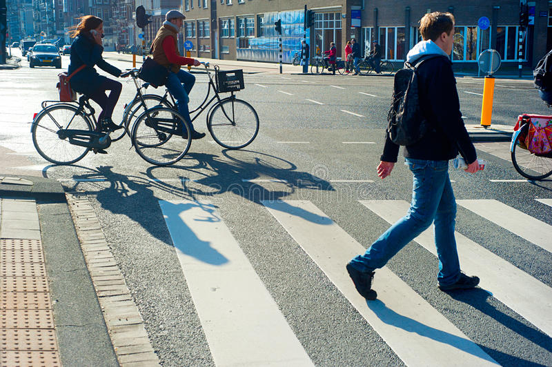 Download Amsterdam crossing street editorial stock photo. Image of motion - 38294213
