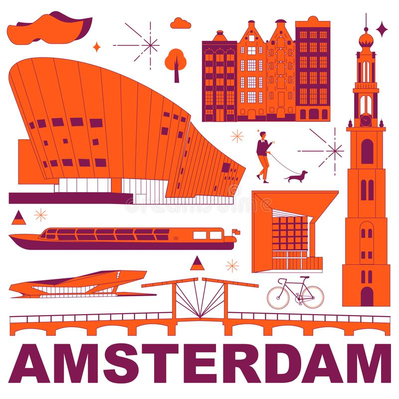 Amsterdam culture travel set. Famous architectures and specialties in flat design. Business travel and tourism concept clipart. Image for presentation, banner royalty free illustration