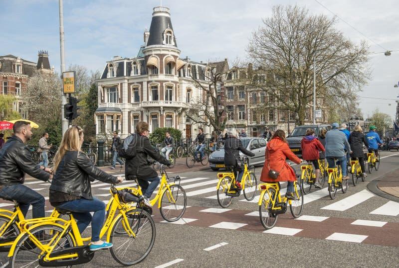 Amsterdam cykeltrafik arkivbild