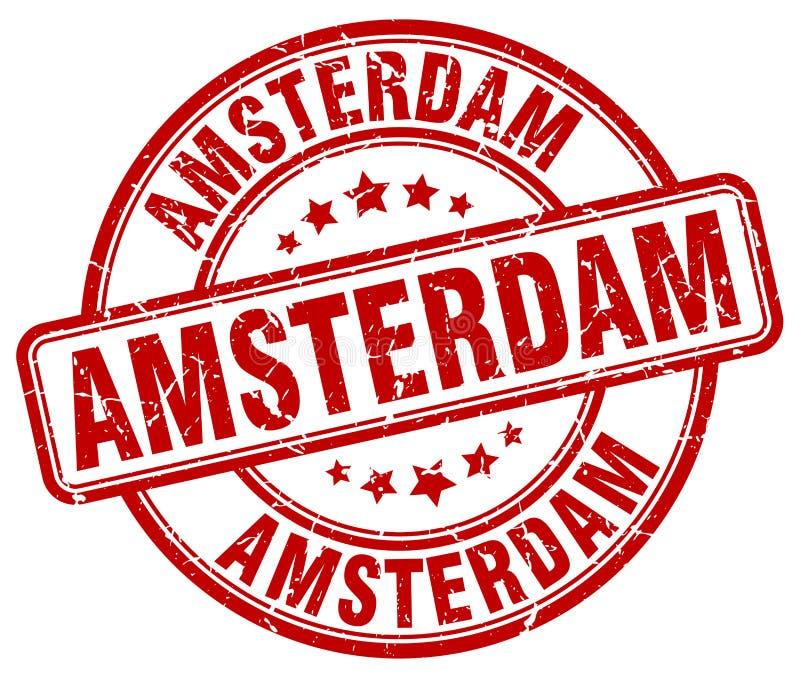 Amsterdam czerwonego grunge round znaczek royalty ilustracja