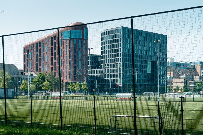 Zuidas in amsterdam, De Boelelaan, Sky scrapers, vu, wtc. Amsterdam, De Boelelaan, the Netherlands, 05/29/2019, Sky scrapers, Modern office buildings in stock image