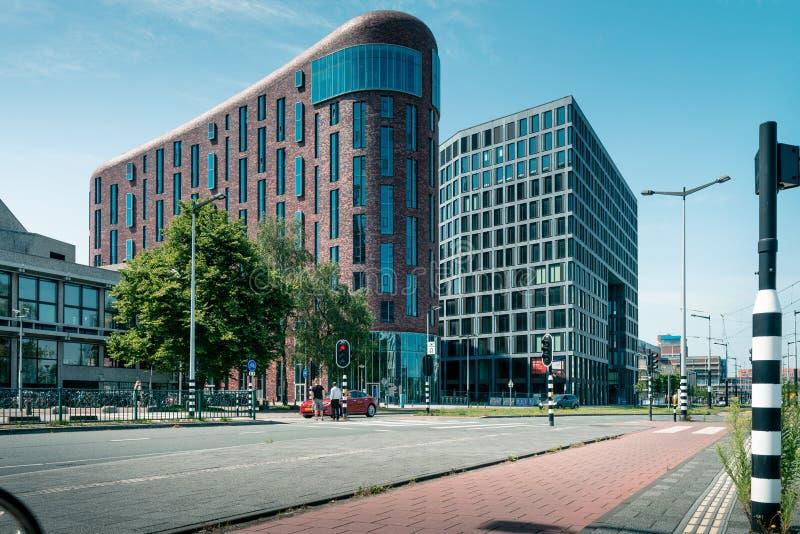Zuidas in amsterdam, De Boelelaan, Sky scrapers, vu, wtc. Amsterdam, De Boelelaan, the Netherlands, 05/29/2019, Sky scrapers, Modern office buildings in royalty free stock photos