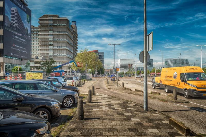 Traffic in streets of amsterdam, cars, bus, Bicycles, zuidas in Amsterdam, luxery apartments, living, houses, VU MC. Amsterdam, De Boelelaan, The Netherlands, 08 stock image