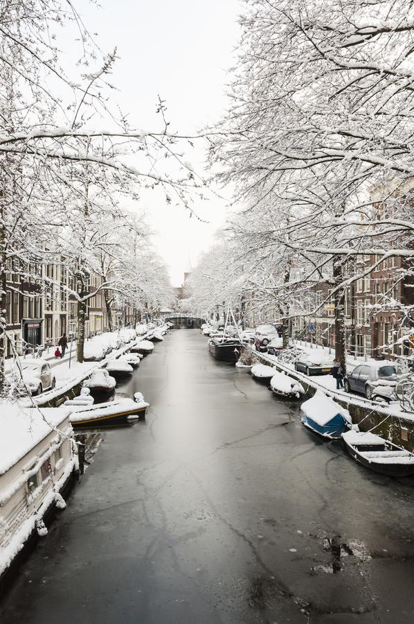 Amsterdam in de winter, Amsterdam in winter stock photography