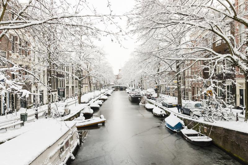 Amsterdam in de winter, Amsterdam in winter royalty free stock images