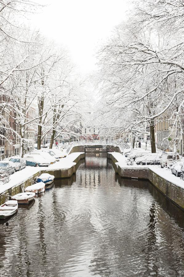 Amsterdam in de winter, Amsterdam in winter stock photos
