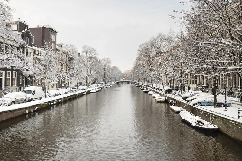 Amsterdam in de winter, Amsterdam in winter royalty free stock photography