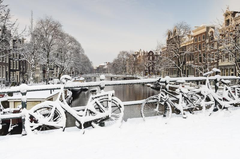 Amsterdam in de winter, Amsterdam in winter royalty free stock image
