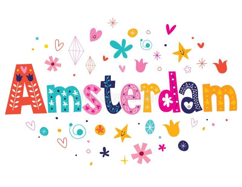 Amsterdam. Decorative lettering type design royalty free illustration