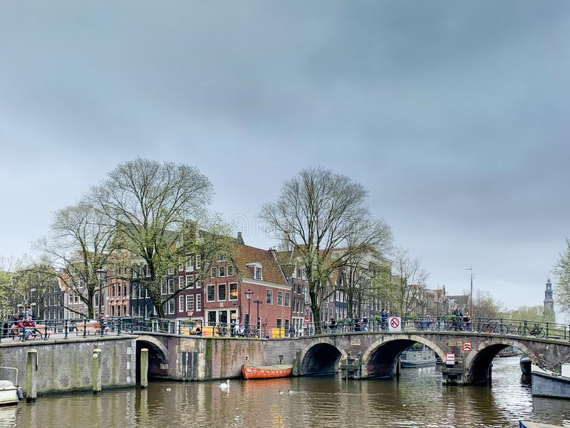 Amsterdam downtown Cityscapes/streetview, Holland royalty free stock photo