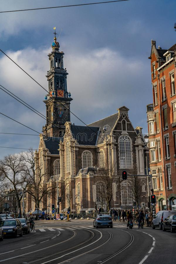 Amsterdam The Dutch Church Westerkerk. Amsterdam Holland The Dutch Church, in Dutch `Westerkerk`, is a Protestant cult building in Amsterdam, the Netherlands. It stock images