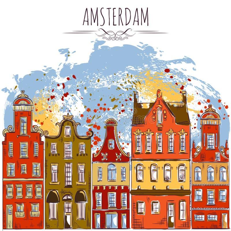 Amsterdam Edificios históricos viejos Arquitectura tradicional de Países Bajos ilustración del vector