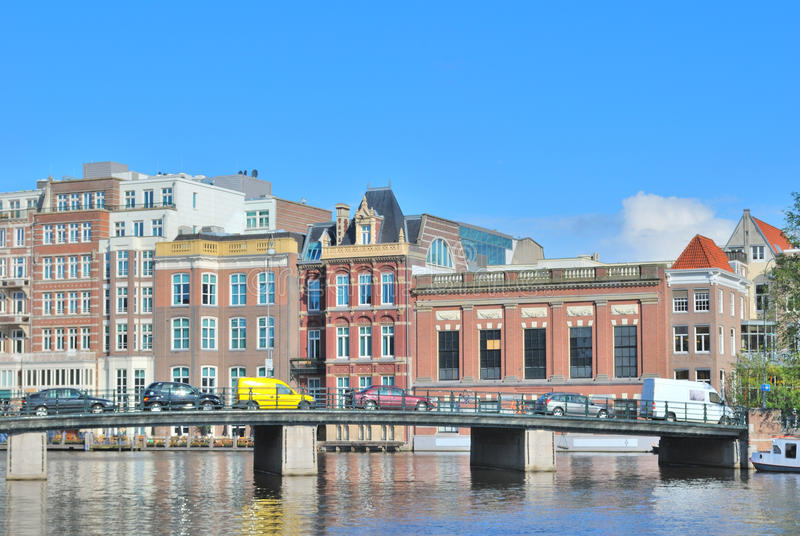 Amsterdam. Embankment of the River Amstel stock image