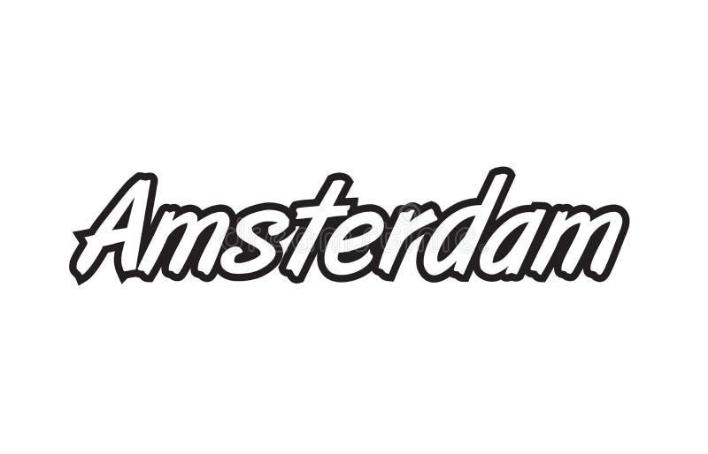 Amsterdam europe capital text logo black white icon design. Logo text word typography design for european capital city amsterdam with black color on white royalty free illustration