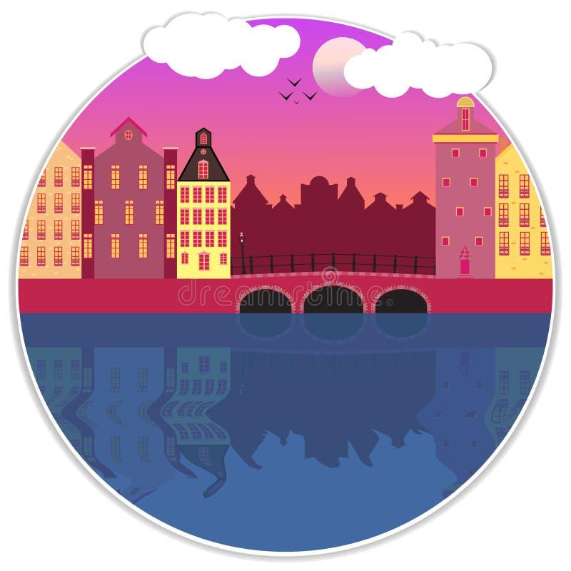 Amsterdam fasad kreskówki wektoru uliczna ilustracja ilustracji