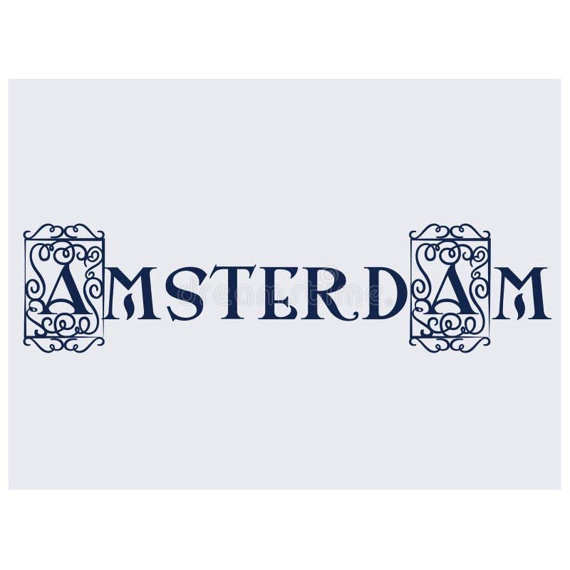 Amsterdam flat color illustration on white stock illustration