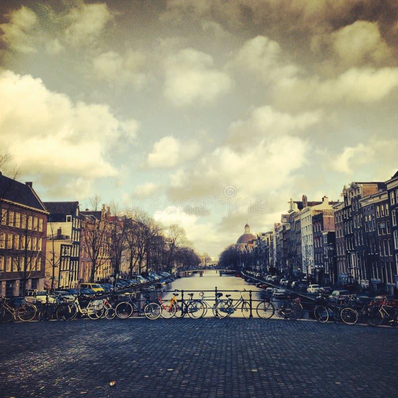 Amsterdam flod royaltyfria bilder