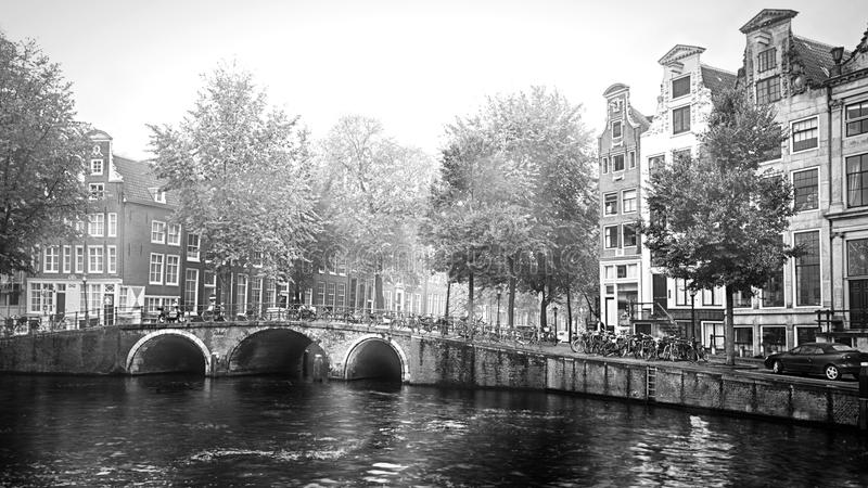 Amsterdam on a foggy morning royalty free stock photo