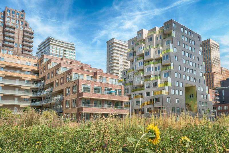 Luxery apartments, living, houses, Modern, urban area, Zuidas in Amsterdam,. Amsterdam, George Gershwinlaan, The Netherlands, 08/23/2019, Modern apartments at stock photo