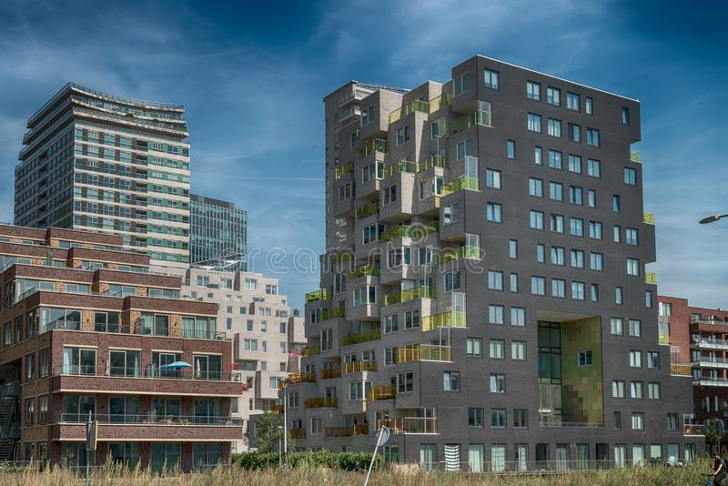 Close up of multiple balconies of modern apartments at the zuidas in Amsterdam, luxery apartments, living, houses. Amsterdam, George Gershwinlaan, The stock photography