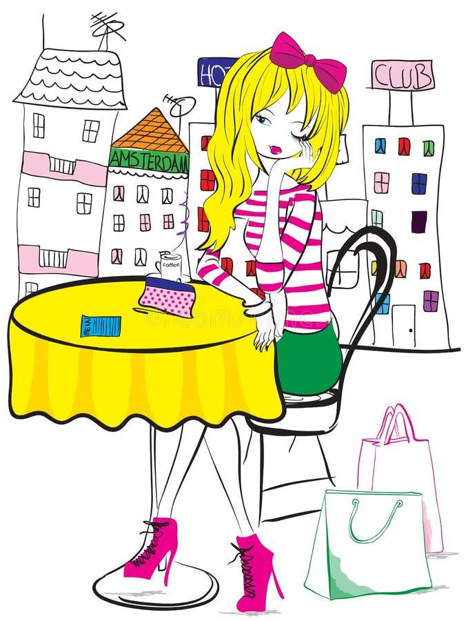 Amsterdam Girl. Kids girl amsterdam vector graphic royalty free illustration