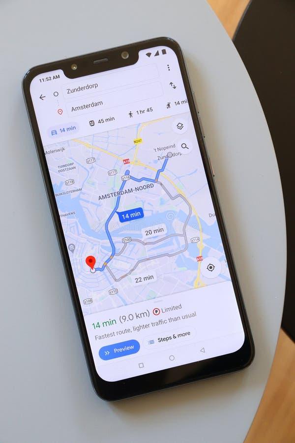 Amsterdam in Google Maps lizenzfreie stockfotos