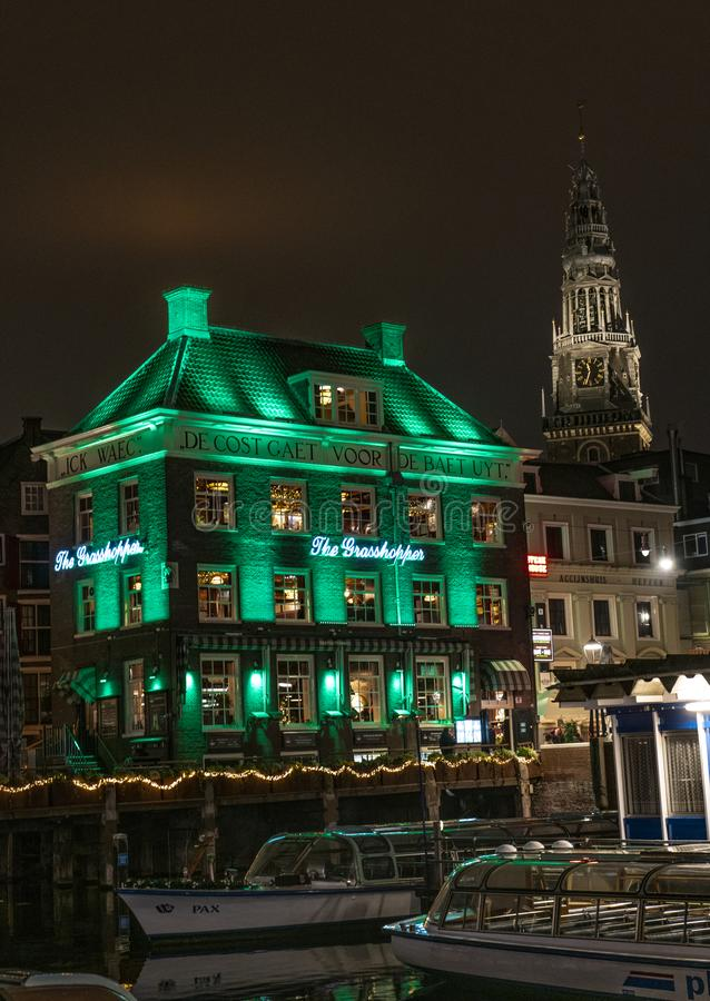 Amsterdam green light of The Grasshopper royalty free stock photo