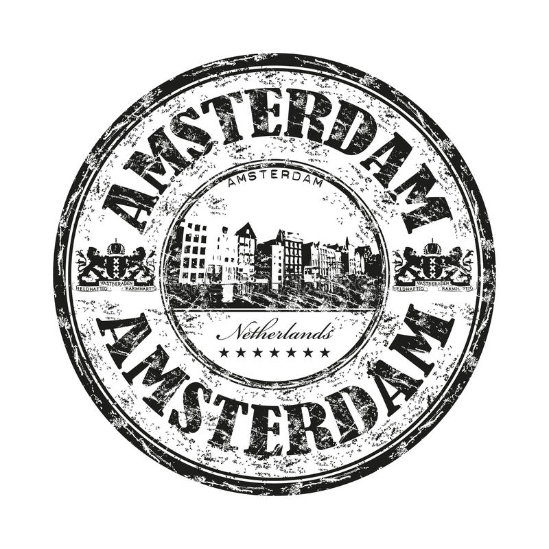 Amsterdam grunge rubber stamp. Black grunge rubber stamp with the name of Amsterdam the capital of Netherlands written inside the stamp royalty free illustration