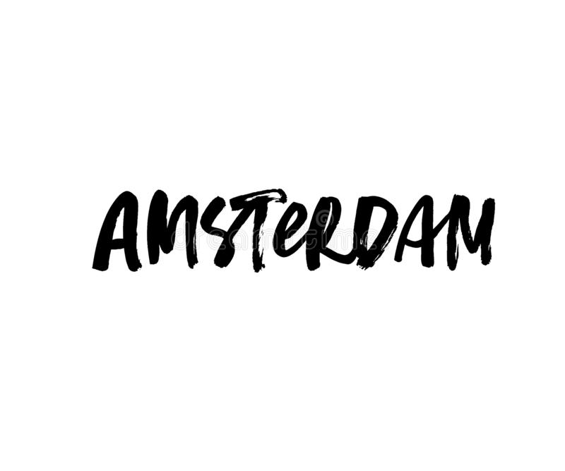 Amsterdam handwritten ink pen vector lettering. Netherlands, european country capital. Tourist greeting card, postcard decorative typography. Location, city stock illustration