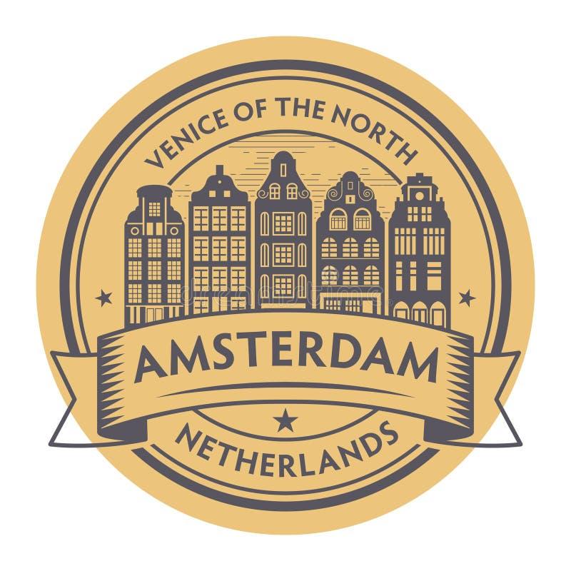 Amsterdam, holandie satmp royalty ilustracja