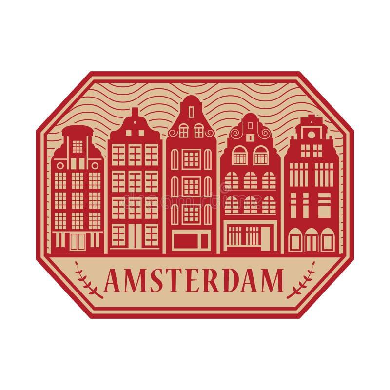 Amsterdam, holandie satmp ilustracja wektor