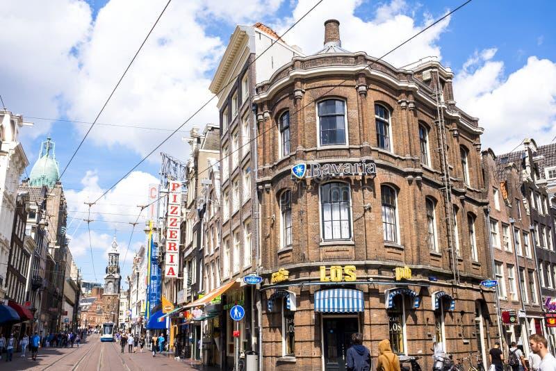Amsterdam holandie, turyści na pięknym Czerwa dniu w Rembr obraz royalty free