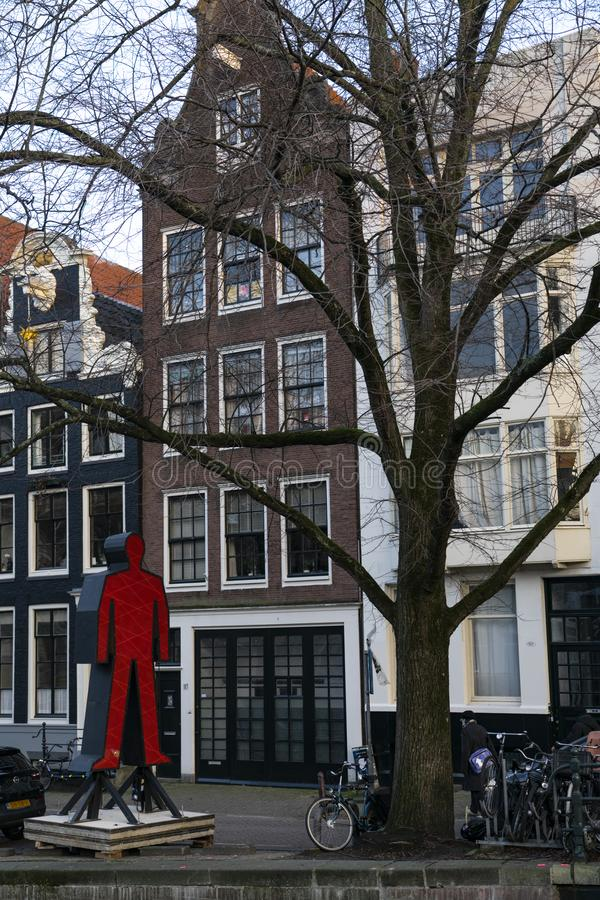 House of Amsterdam Holland. Amsterdam Holland The city of Amsterdam, capital of the Netherlands, is built on a network of artificial canals in Dutch: grachten royalty free stock photo