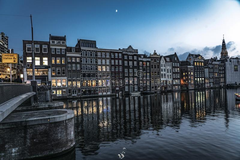 Canals of Amsterdam Holland. Amsterdam Holland The city of Amsterdam, capital of the Netherlands, is built on a network of artificial canals in Dutch: grachten royalty free stock images