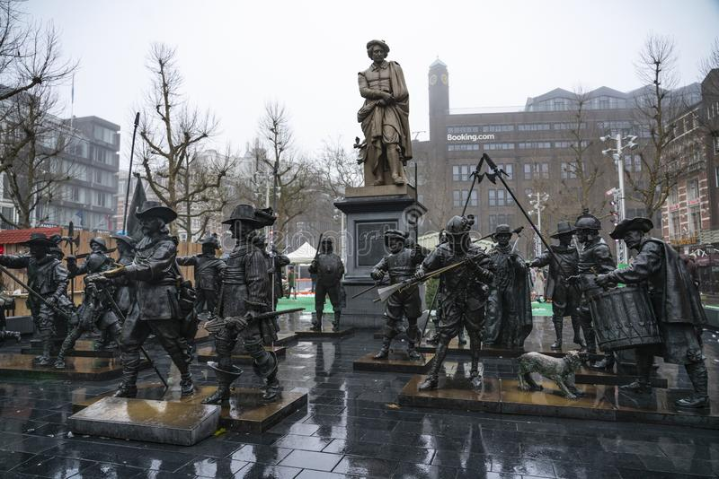 Amsterdam Rembrandtplein the square with its statues stock photo