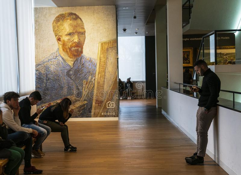 Amsterdam Van Gogh Museum waiting room. Amsterdam Holland The Van Gogh Museum is a state museum Rijksmuseum located in Amsterdam, in the Netherlands which has royalty free stock photos