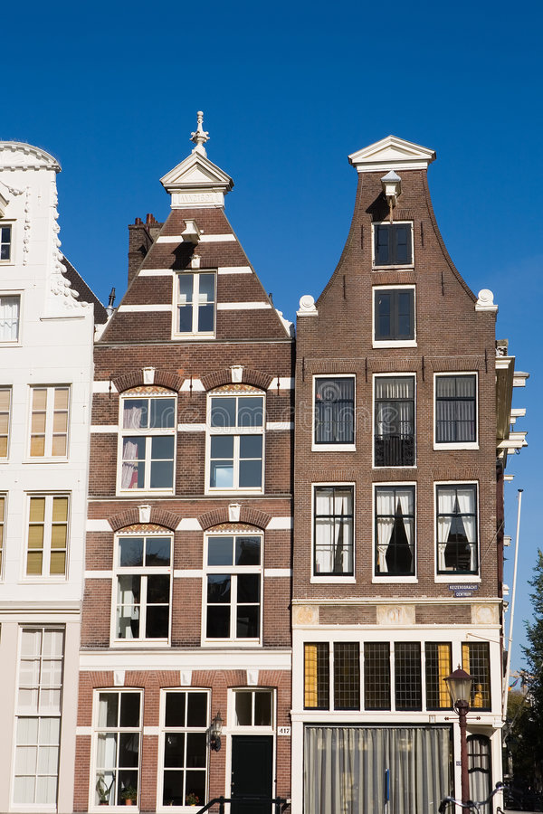 Amsterdam houses. Closeup of typical Amsterdam houses. Central Amsterdam, Holland royalty free stock photos