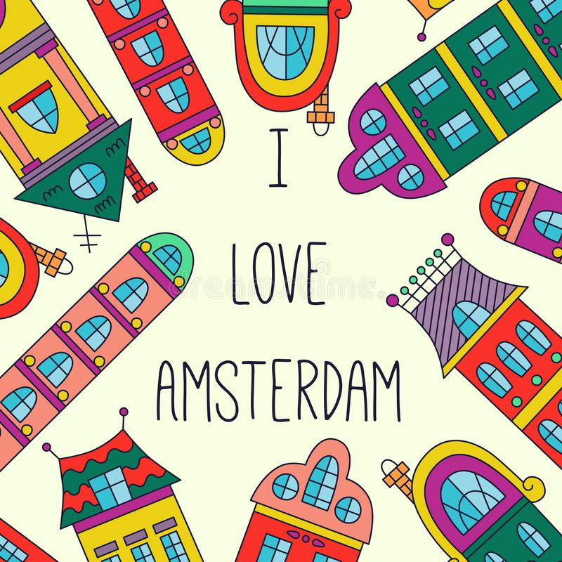 Amsterdam houses banner template vector royalty free illustration