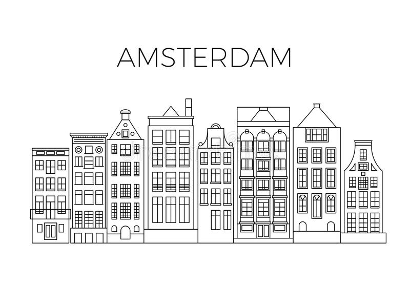 Amsterdam houses city panorama. Dutch street buildings vector skyline royalty free illustration