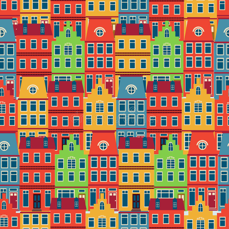 Amsterdam houses seamless pattern. Colorful Amsterdam houses seamless pattern. vector illustration stock illustration
